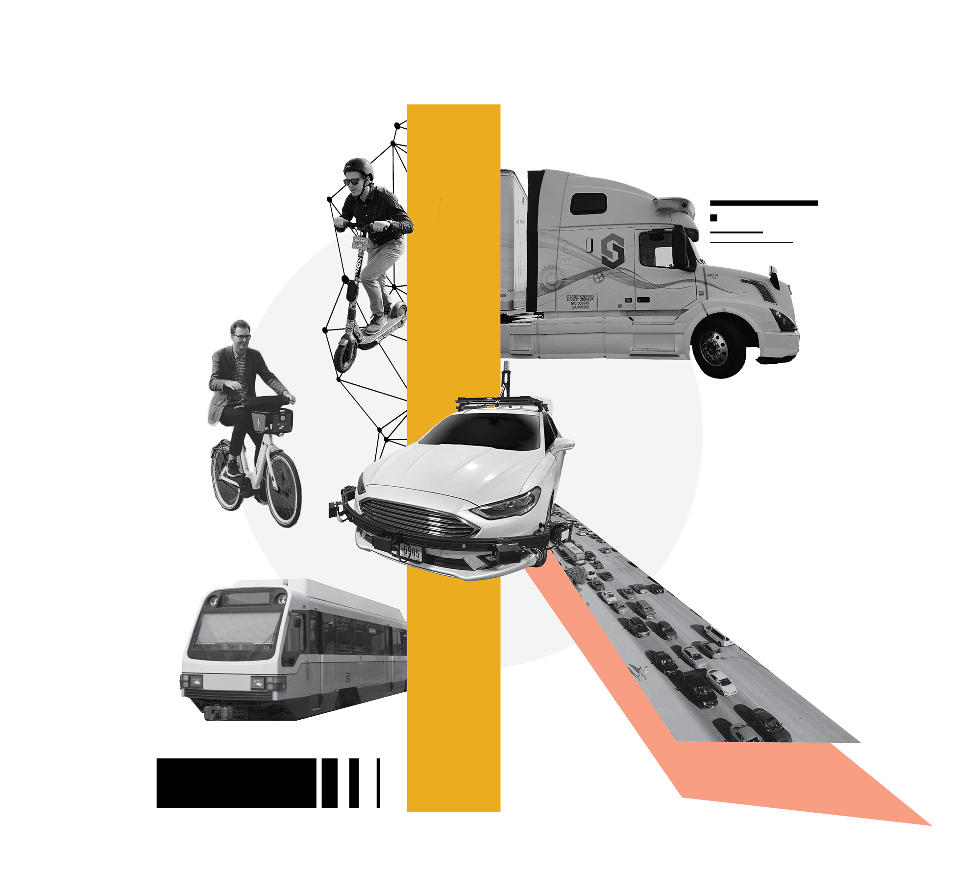 A collage featuring a man on a scooter, a man on a bicycle, a bus, a self driving car, a self driving freight truck, and a road filled with cars. There is a yellow bar cutting the middle and a light red triangle on the bottom right. There is a big circle on the background and all the images are in black and white.