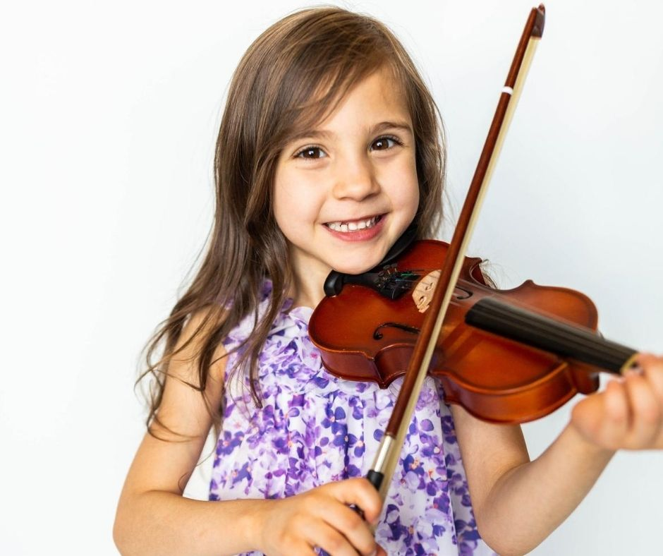 Students as young as 4 years old take violin lesson with us! We love students of all ages at Weatherford Music Academy!