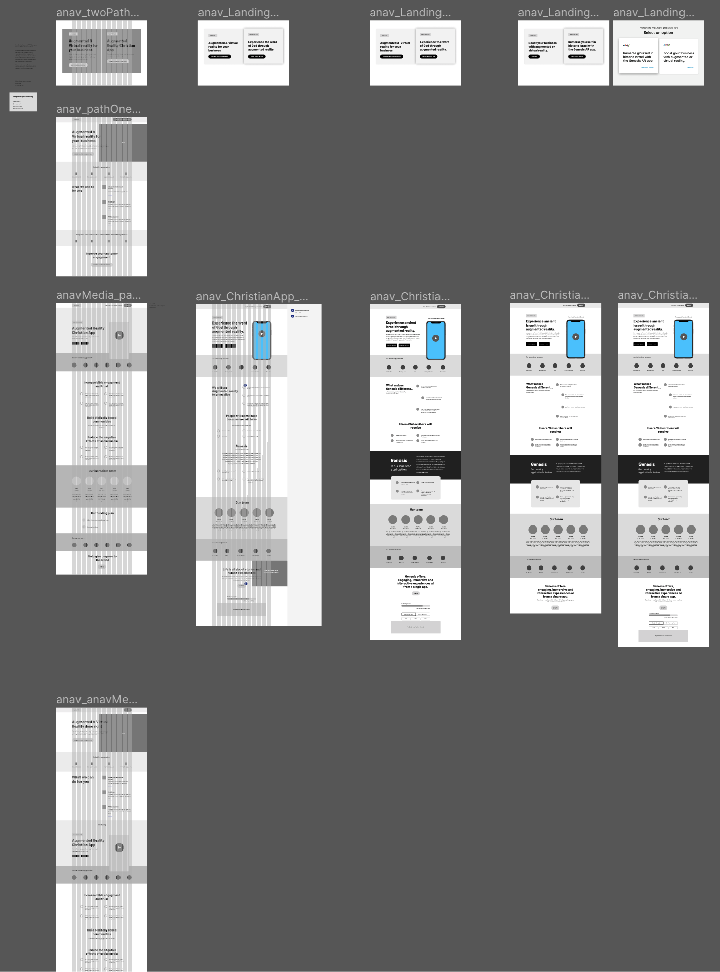 Rounds of wireframing as the project progressed