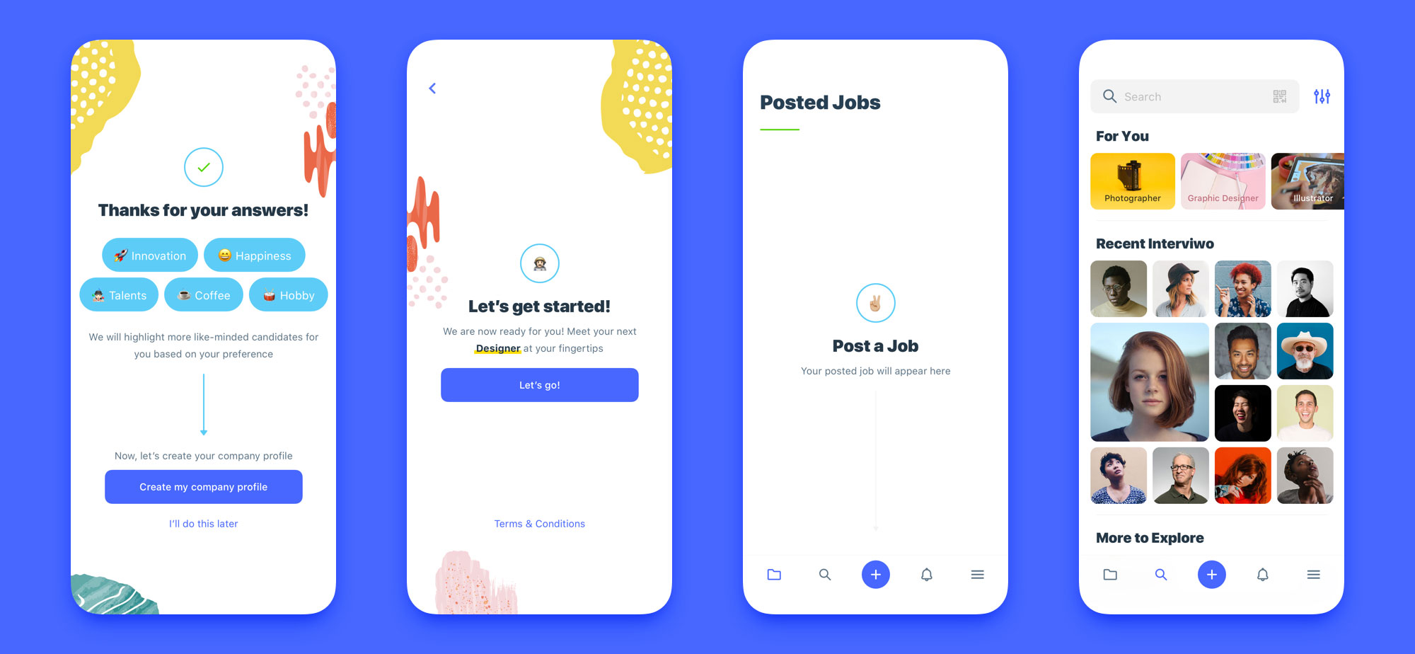 interview mobile app design set 03