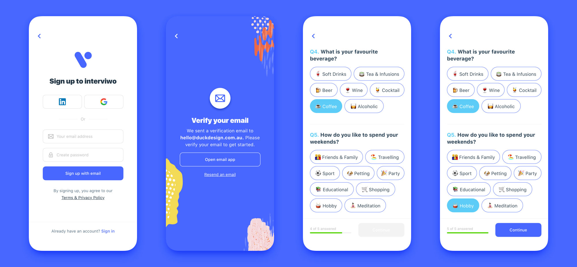 interview mobile app design set 02
