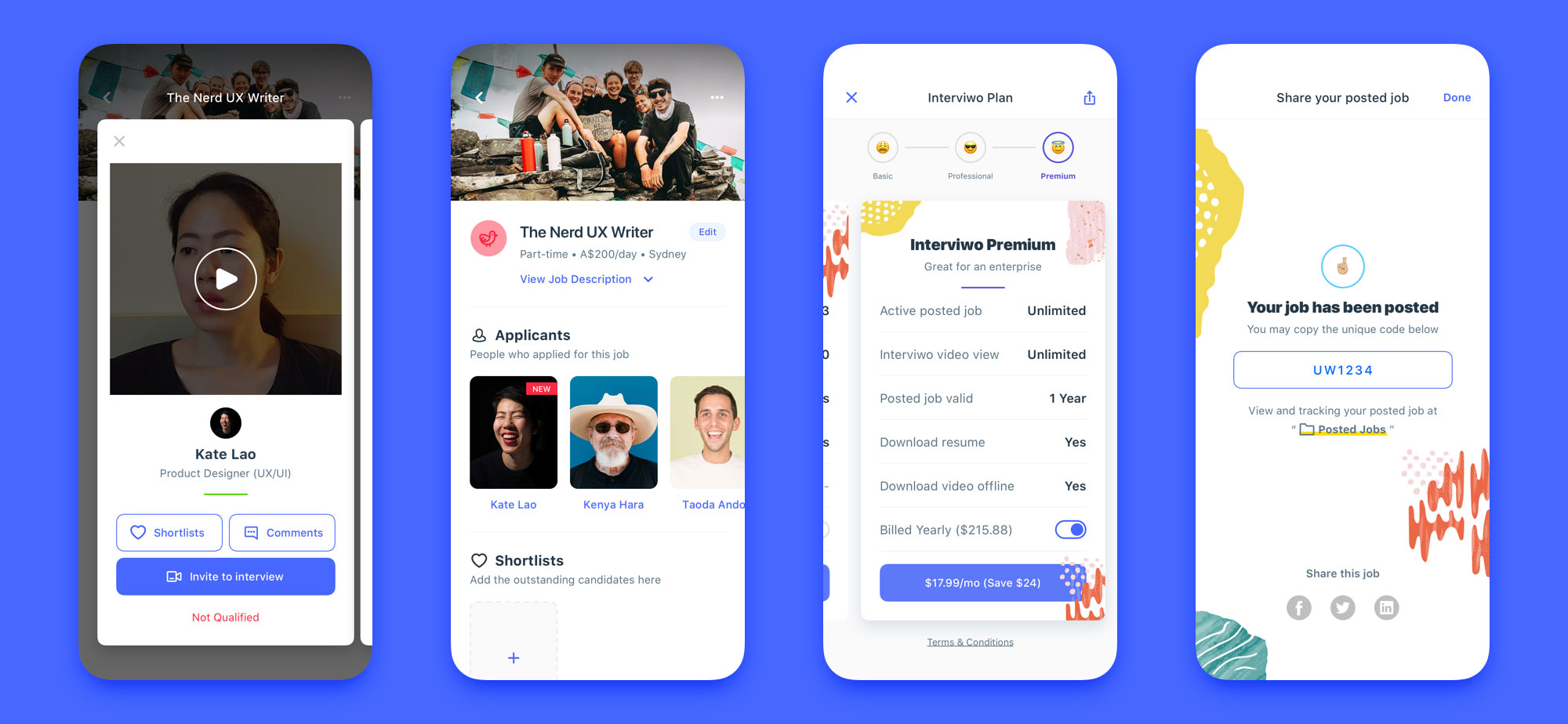 interview mobile app design set 05
