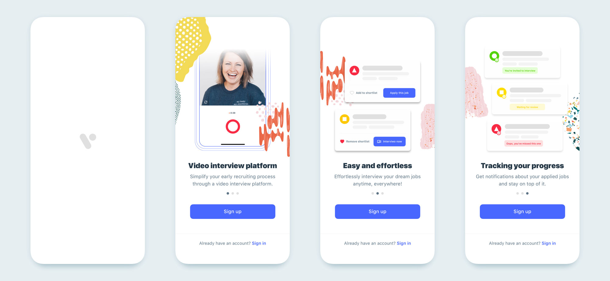 interview mobile app design set 01
