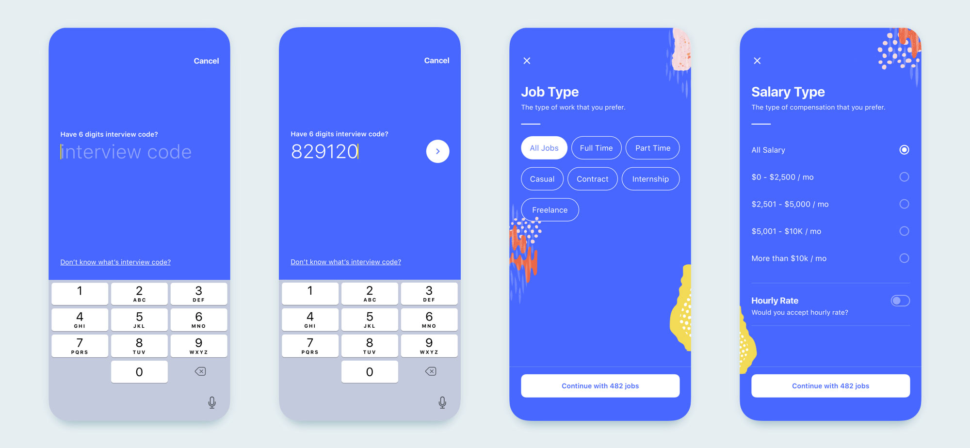 interview mobile app design set 04