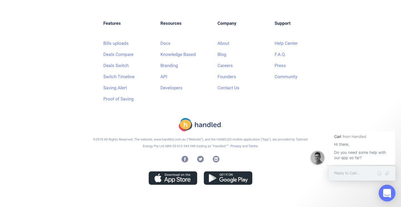 handled landing page