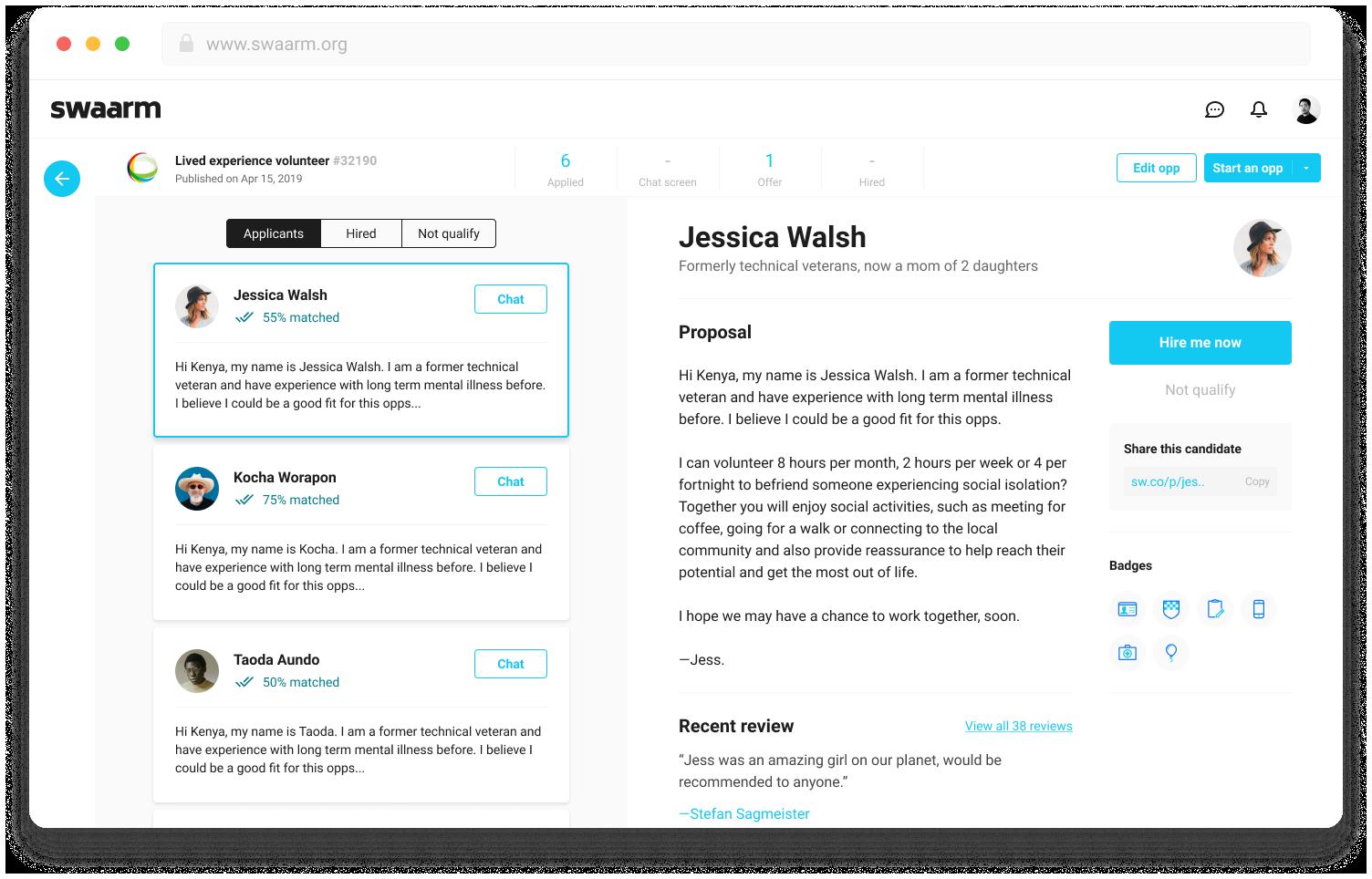 Swaarm Web App Design