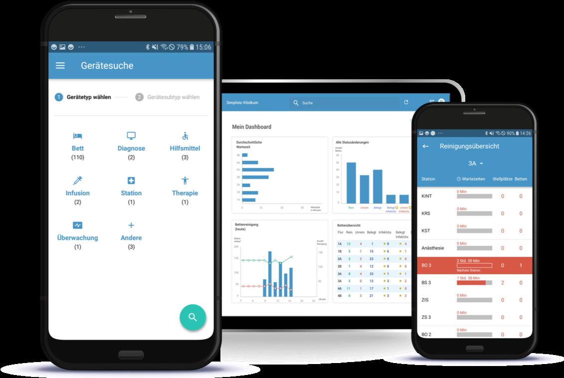 Asset tracking, Bettenbelegung und Reinigungsmanagement App © simplinic