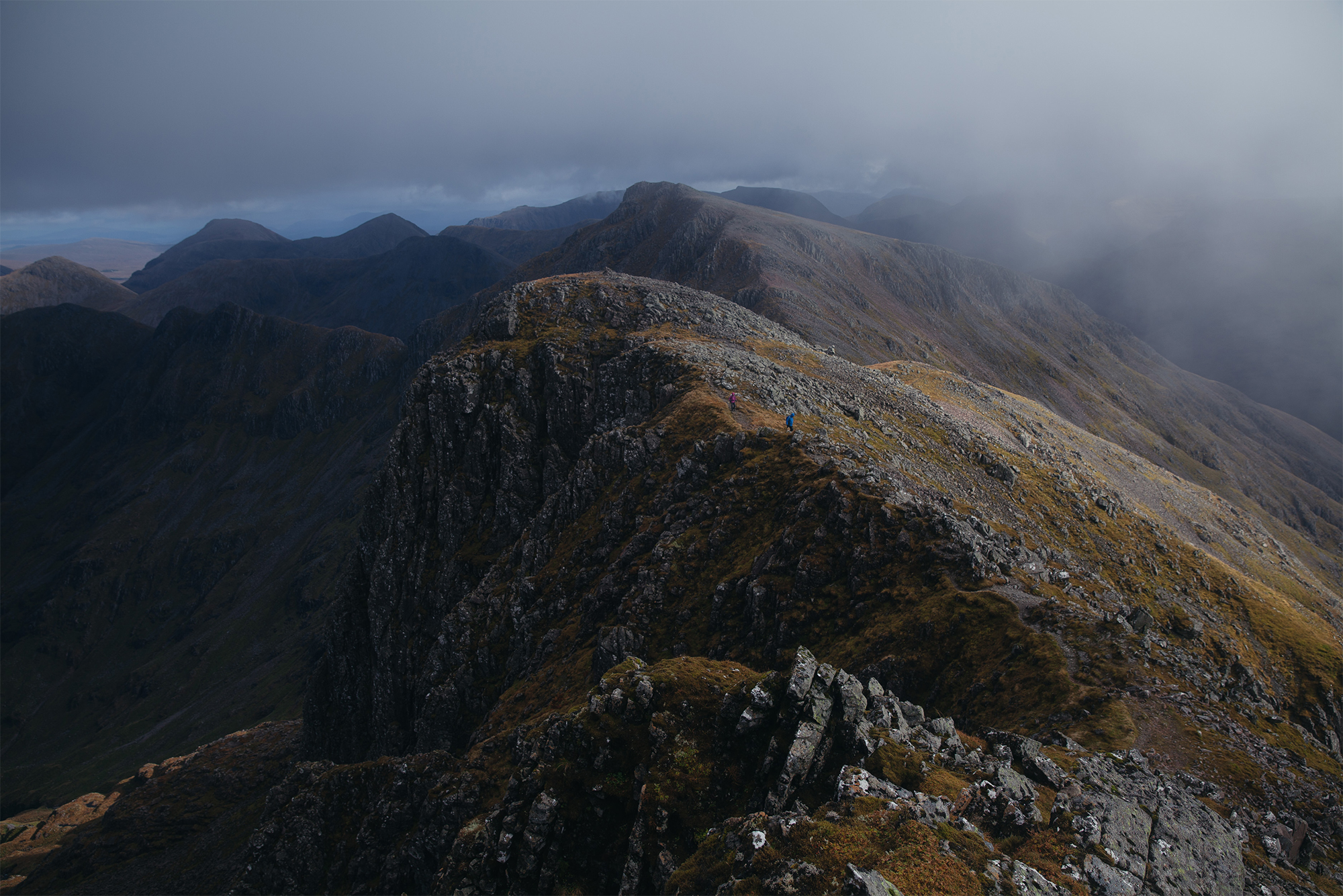 Stormy ridgeline of the Bidean nam Bian in Glencoe.