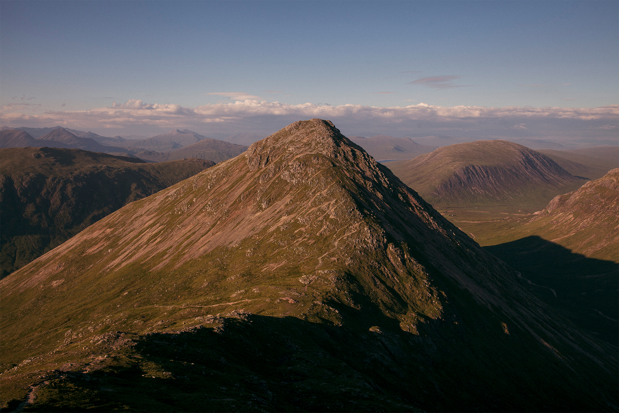 Mid-summer sunset from the summit of Buachaille Etive Beag in Glencoe.