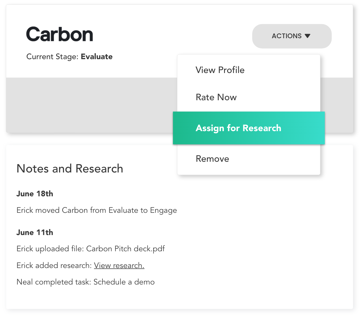Assign research tasks to your team members
