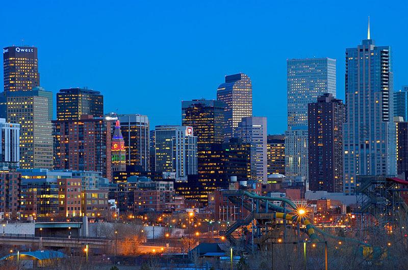 Denver skyline at night
