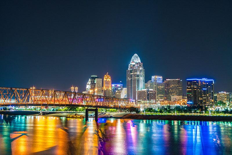 Cincinnati skyline at night across the Ohio River