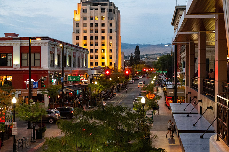 A street in downtown Boise, Idaho in the evening