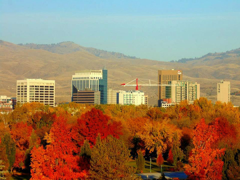 View overlooking downtown Boise with fall foliage