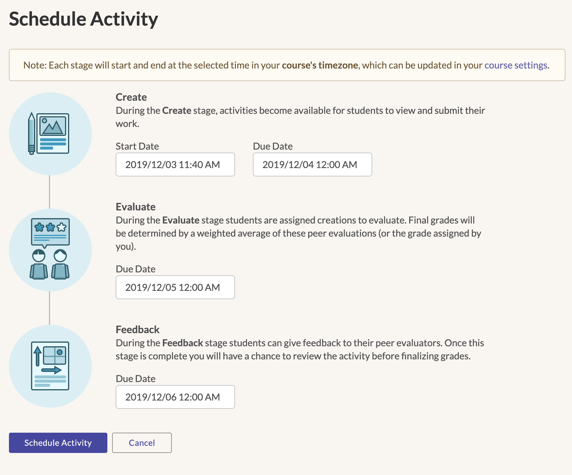 Schedule Activity Page