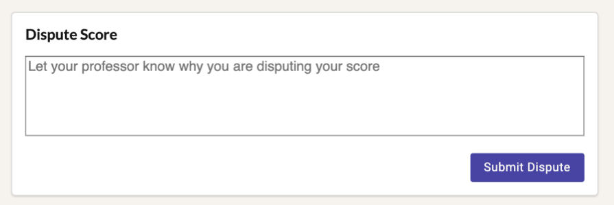 Dispute Score Comment Box