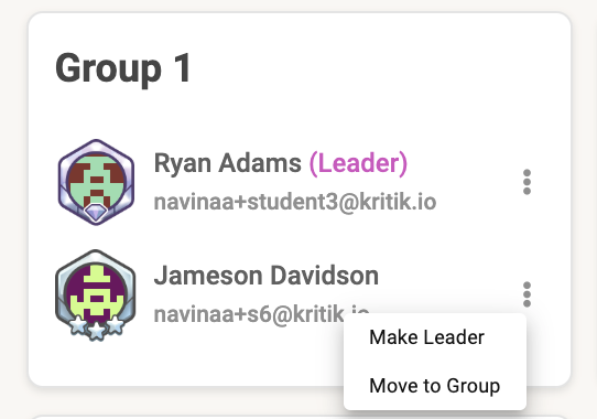 Changing Group Leaders