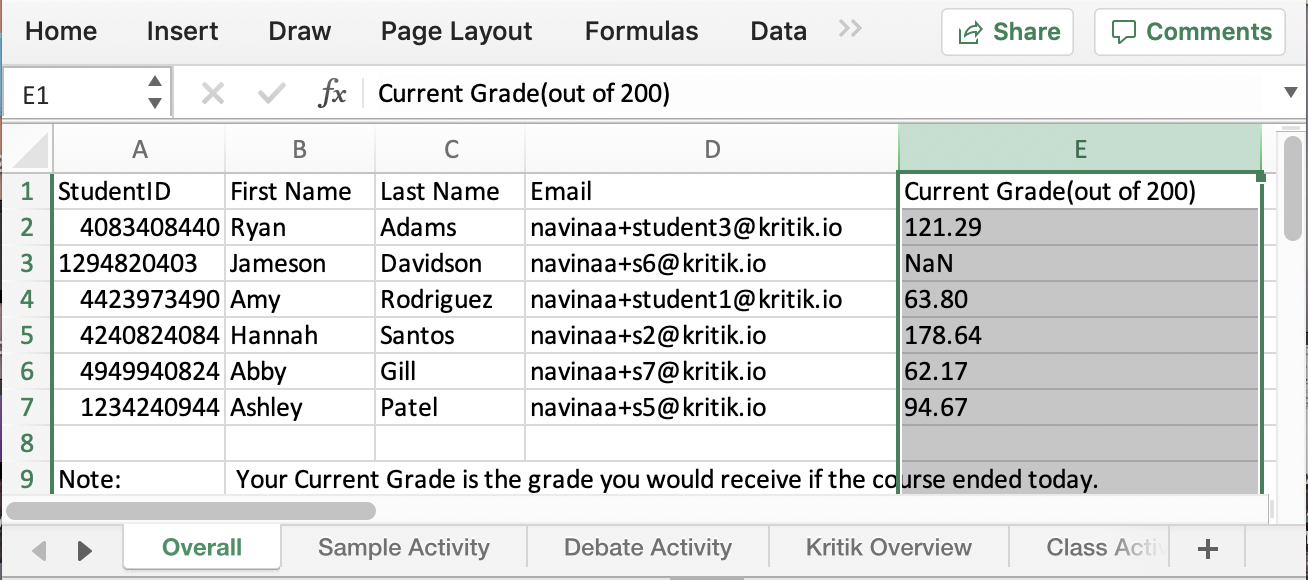Current Grade on Gradebook spreadsheet