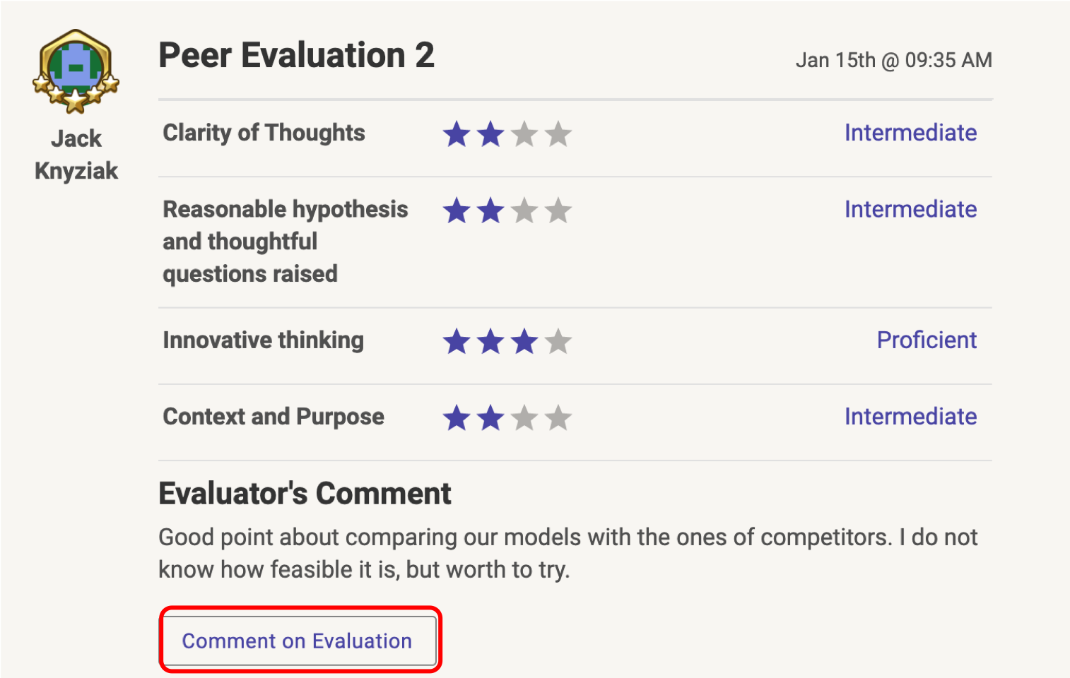 Red outlined Comment on Evaluation button