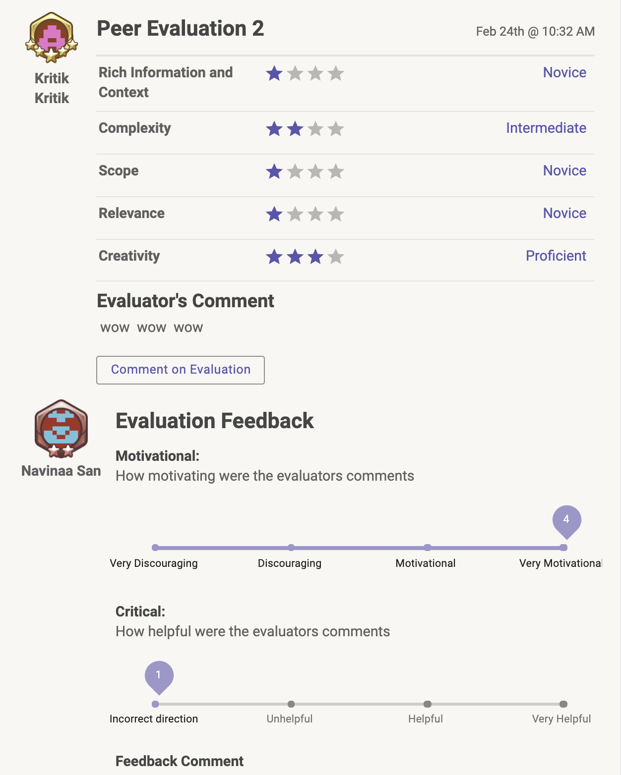 Feedback-on-Feedback Purple Motivational and Critical Scales