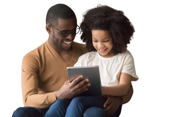 Father using Eedi with his daughter