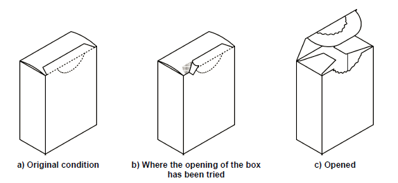 Folding box with perforation closed with glue