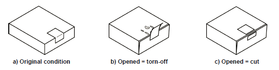 Folding box closed with a label or tape