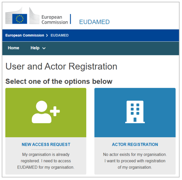 User and actor registration overview in Eudamed