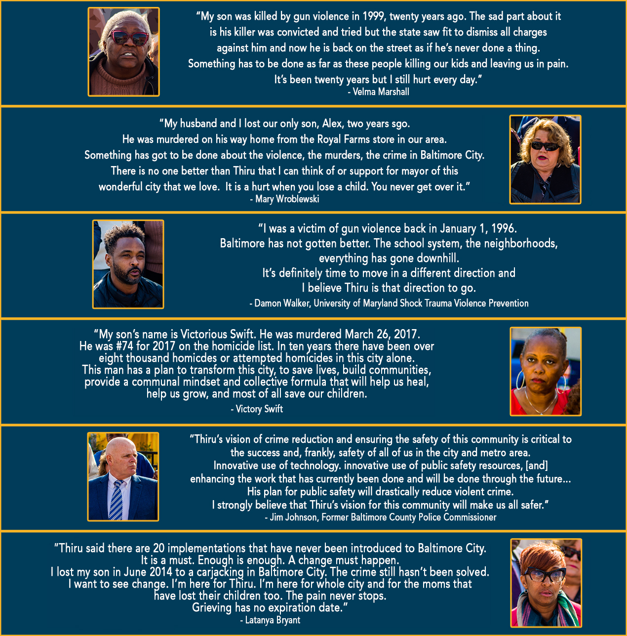 An image of testimonials from victims of Baltimore City violence and Former Baltimore County Police Commissioner Jim Johnson