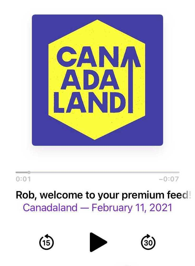 """Screenshot of podcast player playing """"Canadaland"""" podcast"""