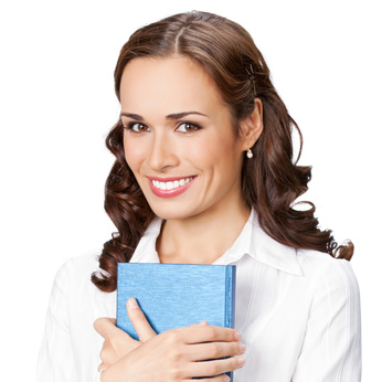 Happy smiling cheerful young business woman with notepad, isolated on white background