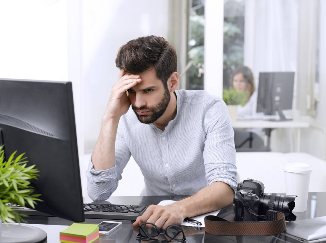 Small business owner worried about business performance