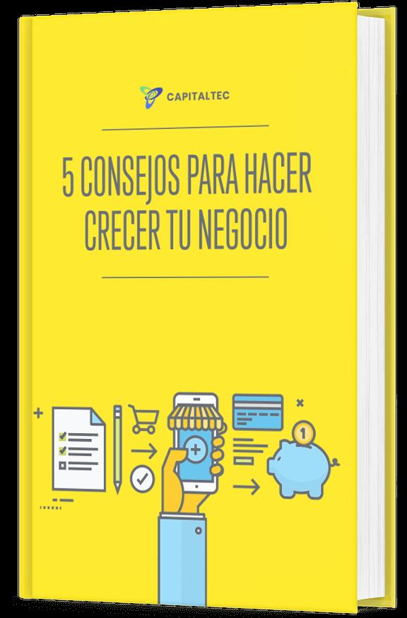 libro digital con 5 consejos para hacer crecer tu negocio