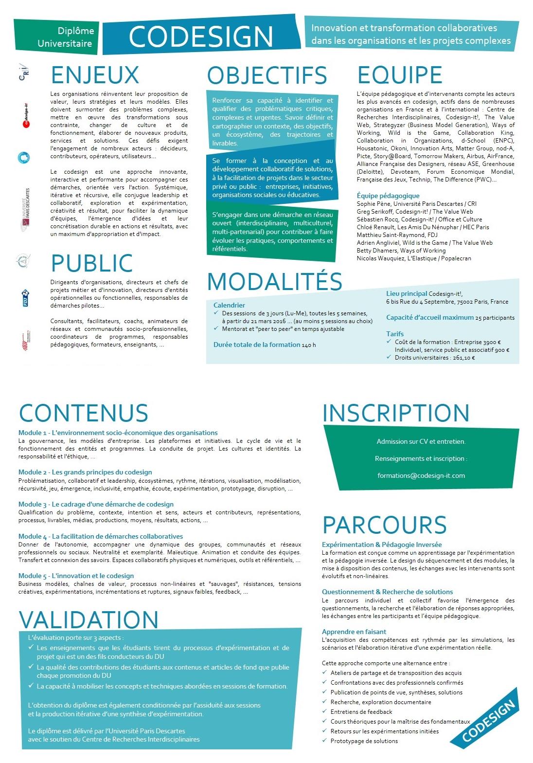 2ème édition du Diplôme Universitaire Codesign