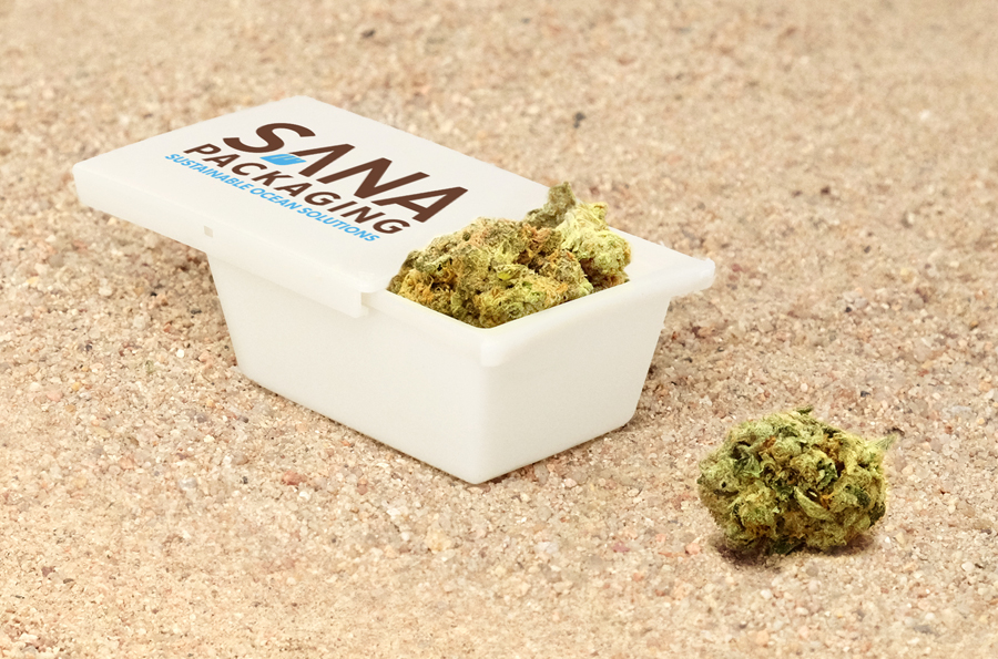 This option from    www.sanapackaging.com    is created from recycled plastic reclaimed from the ocean and features a lid that doubles as a a small rolling tray