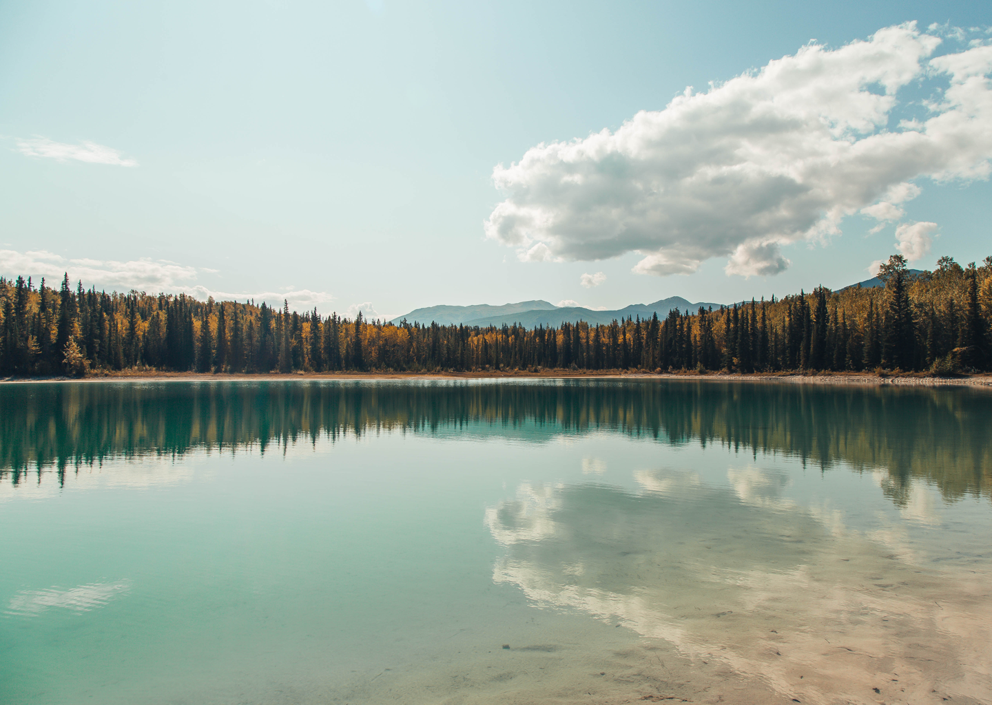 Reflections on a lake in Northern British Columbia, Canada.