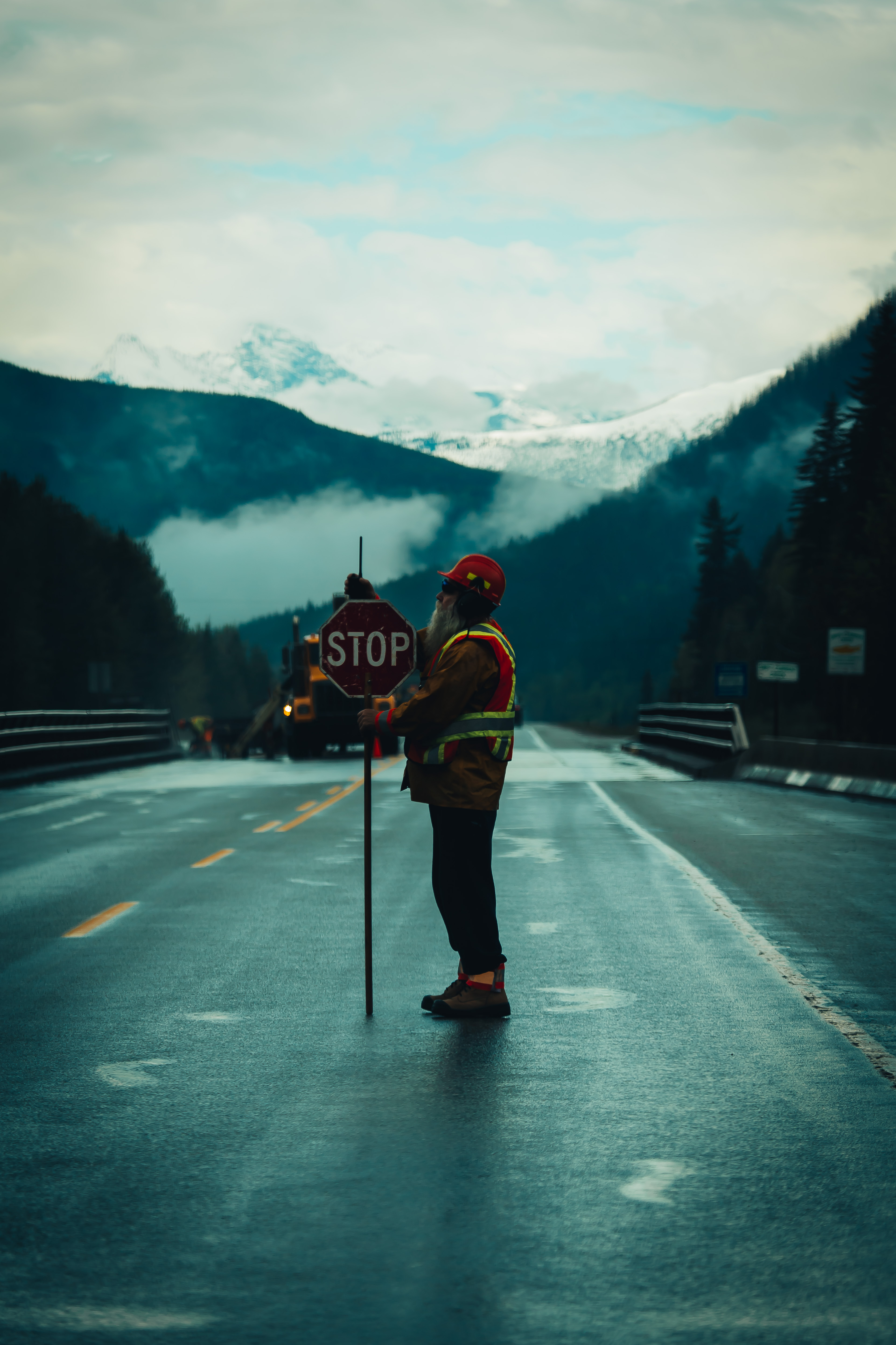 A Canadian road worker in British Columbia Canada.