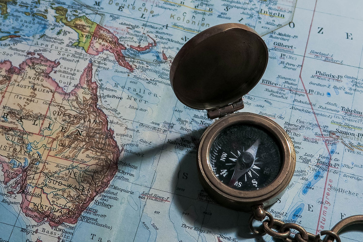 Compass with the map