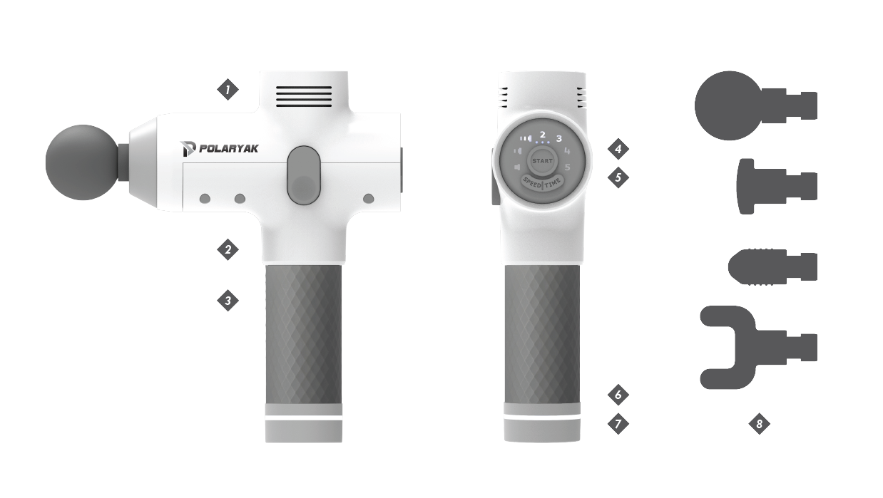 Wave massage gun specifications picture.