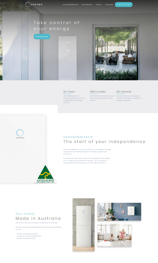 Sonnen home page redesign by Creative Nurds