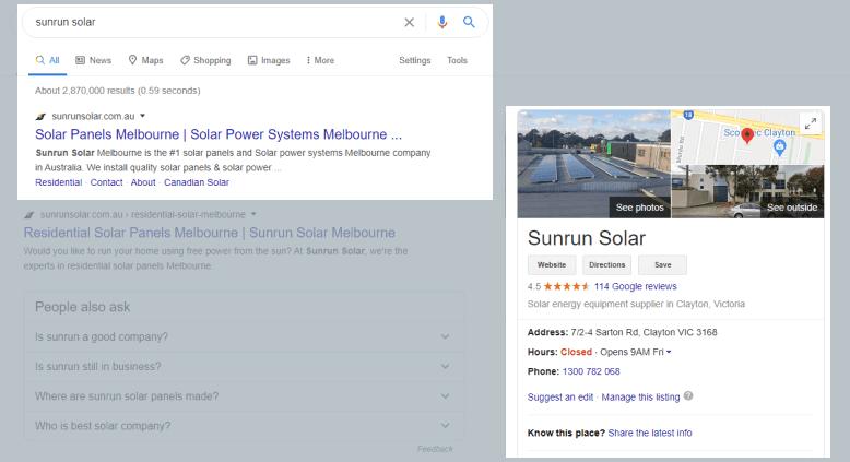 Sunrun Solar Google Business Profile