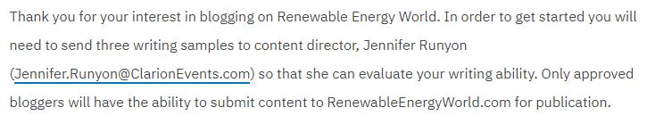Renewable Energy World guest blog