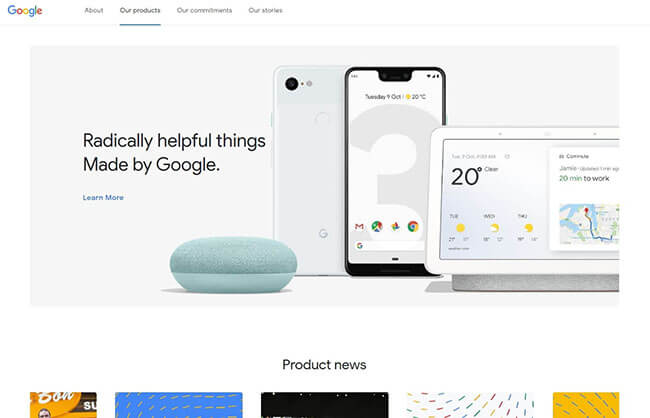 Google products page no slider