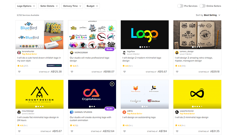 Fiverr choosing a logo designer