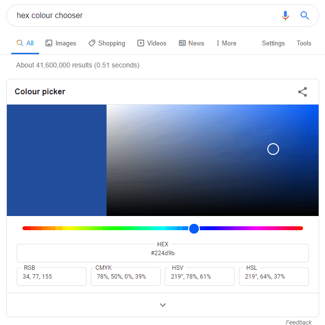 Google colour chooser