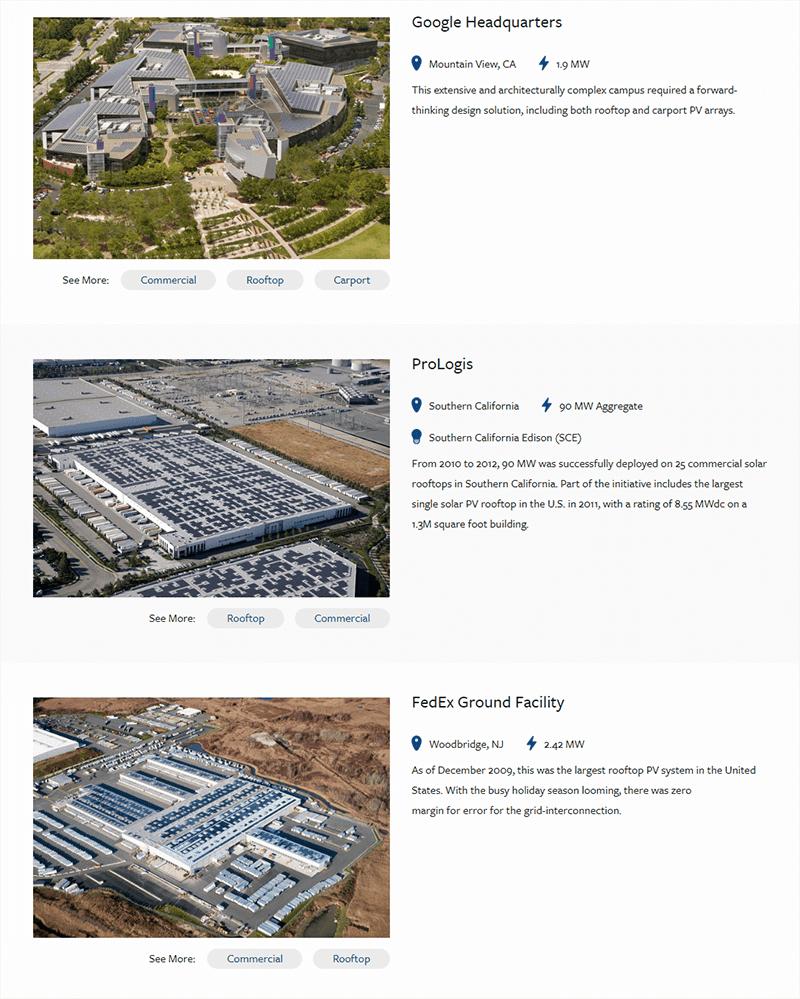 Solar portfolio page