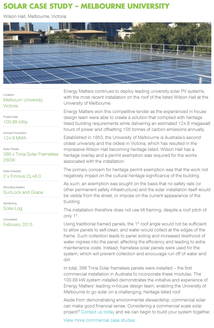 Solar case study example