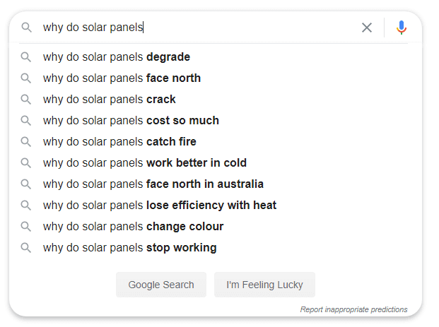 Why do solar panels google search