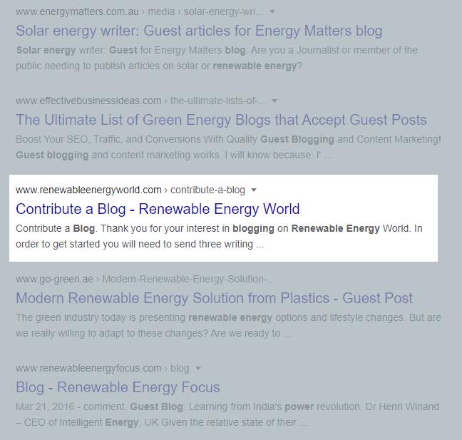 Renewable energy guest blog SERP
