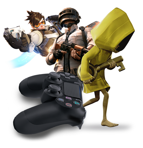Six from Little Nightmares is running around in her stunning yellow coat with a large golden key in her hand right infront of DVA from Overwatch who is leaning in with her gun. Next to DVA is the main protagonist of PUBG who is wearing his helmet and is carrying an AR. In the front we can see a large Playstation controller symbolising that the gaming industry has grown significantly over the years and that social media marketing when launching games is crucial.